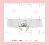 white 50s Vintage Inspired Faux Leather Elasticated Waspie Bow Belt Banned apparel at Cerys' Closet