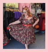50s Vintage Inspired Vera Sweet Heart Swing Dress by Cerys' Closet Skull, Roses and Vintage Microphone Rock n Roll LIMITED EDITION PRINT