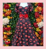 """LIMITED EDITION PRINT Vampire Teeth with Red Lips 50s Vintage Inspired """"Bite Me"""" Vera Sweet Heart Swing Dress by Cerys' Closet"""