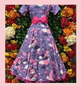 """LIMITED EDITION PRINT 50s Vintage Inspired """"Samantha Witch"""" Vera Sweet Heart Swing Dress by Cerys' Closet Dress covered with pin up witches sitting on crescent moons."""