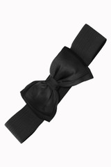 50s Vintage Inspired Elasticated Waspie Satin Bow Belt - Black