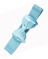 50s Vintage Inspired Elasticated Waspie Satin Bow Belt - Baby Blue