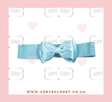 Baby Blue 50s Vintage Inspired Elasticated Waspie Satin Bow Belt Banned Apparel at Cerys' Closet