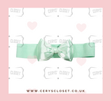Mint Green 50s Vintage Inspired Elasticated Waspie Satin Bow Belt Banned Apparel at Cerys' Closet