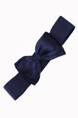 50s Vintage Inspired Elasticated Waspie Satin Bow Belt - Navy Blue
