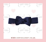 Navy 50s Vintage Inspired Elasticated Waspie Satin Bow Belt Banned Apparel at Cerys' Closet