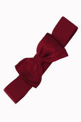 50s Vintage Inspired Elasticated Waspie Satin Bow Belt - Burgundy