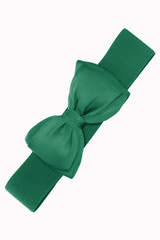 50s Vintage Inspired Elasticated Waspie Satin Bow Belt - Green