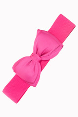 50s Vintage Inspired Elasticated Waspie Satin Bow Belt - Hot Pink