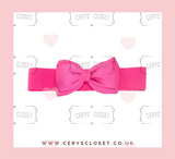 Hot Pink 50s Vintage Inspired Elasticated Waspie Satin Bow Belt Banned Apparel at Cerys' Closet