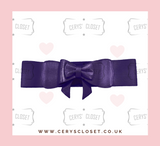 Dark Purple Aubergine Elasticated Stretch Waspie Belt with Bow by Banned Apparel at Cerys' Closet