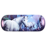 The Journey Hard Glasses Case Featuring White Unicorns by Lisa Parker