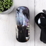 Familiarity Hard Glasses Case Featuring Black Cat and Black Raven By Linda Jones