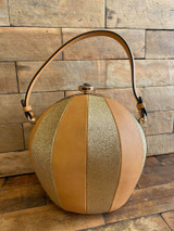 Quirky Round Balloon Handbag with Glitter Panels and Detachable Shoulder Strap - Gold