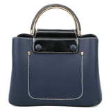 Cute Double Handled Button Tote Bag with Detachable Shoulder Strap - Navy