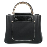 Cute Double Handled Button Tote Bag with Detachable Shoulder Strap - Black