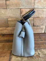 Cute Double Handled Button Tote Bag with Detachable Shoulder Strap - Grey