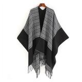Reversible Gingham Poncho Cape Wrap - Black & White