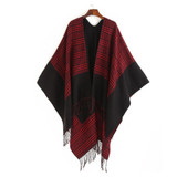 Reversible Gingham Poncho Cape Wrap - Red & Black