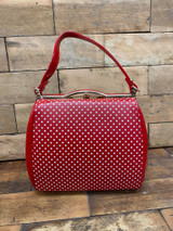 40S AND 50S CLASSIC PINUP ROCKABILLY VINTAGE INSPIRED POLKA DOT AND PATENT BOX STYLE HANDBAG - Red
