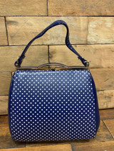 40S AND 50S CLASSIC PINUP ROCKABILLY VINTAGE INSPIRED POLKA DOT AND PATENT BOX STYLE HANDBAG - Navy