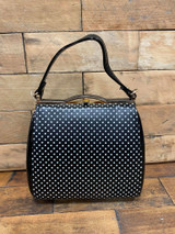 40S AND 50S CLASSIC PINUP ROCKABILLY VINTAGE INSPIRED POLKA DOT AND PATENT BOX STYLE HANDBAG - Black and White