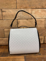 40S AND 50S CLASSIC PINUP ROCKABILLY VINTAGE INSPIRED POLKA DOT AND PATENT BOX STYLE HANDBAG - WHITE & BLACK