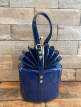 40S AND 50S CLASSIC PINUP ROCKABILLY VINTAGE INSPIRED PATENT FAN TOP OPENING STYLE HANDBAG - NAVY