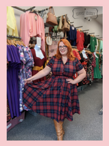 Collectif Ginsburg Caterina 50s Vintage Inspired Red and Blue Gingham Shirt Dress at Cerys' Closet