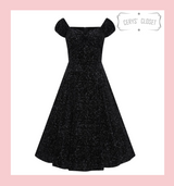 Collectif Dolores Doll Vintage 50s Inspired Swing Dress Black Velvet and Silver Glitter Drops