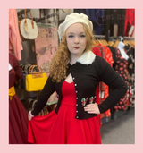 Candy Cane Christmas Cardigan with Detachable Faux Fur Collar