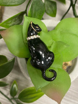 GOLD PLATED ENAMEL CAT BROOCH WITH GENUINE CRYSTALS -black