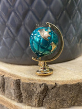 GOLD PLATED ENAMEL GLOBE BROOCH - green