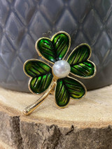 GOLD PLATED ENAMEL FOUR LEAF CLOVER BROOCH