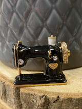 GOLD PLATED ENAMEL SEWING MACHINE BROOCH WITH GENUINE CRYSTALS