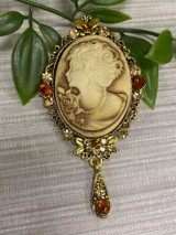 GOLD plated Vintage Cameo Style Brooch with Genuine Crystals Drops