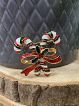 Red and White Stripe Christmas Candy Cane Brooch
