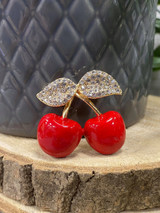Gold PLATED ENAMEL Cherry Brooch with Genuine Crystals