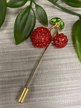 Gold Plated Crystal Encrusted Multiuse Cherry Pin