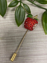 Gold Plated Crystal Encrusted Multiuse Apple Pin