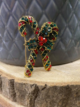Gold Plated Crystal Encrusted Christmas Candy Cane Brooch