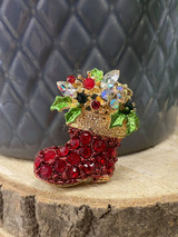 Gold Plated Crystal Encrusted Christmas Stocking Brooch