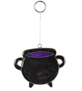 Black Cauldron Mini Suncatcher with Glitter Flecks