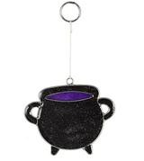 Black Cauldron Mini Suncatcher with Glitter Flecks