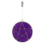 Purple and Silver Pentagram Mini Suncatcher with Glitter Flecks