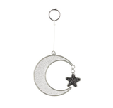 Crescent Moon and Hanging Star Mini Suncatcher with Glitter Flecks