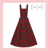 50s Vintage Inspired Red Tartan Pinafore Dress/ Skirt with Adjustable and Detachable Bib