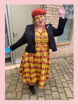 Collectif Caterina Autumn 50s Vintage Inspired Shirt Swing Dress, Orange and Yellow Check at Cerys' Closet