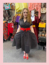 Collectif Caterina Black and White Polka Dot 50s Vintage Inspired Shirt Swing Dress at Cerys' Closet
