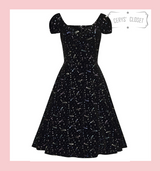 Collectif Dolores Doll Vintage 50s Inspired Swing Dress Black Velvet and Multicoloured Glitter Starbursts at Cerys' Closet